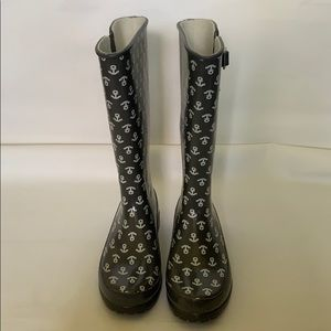 Sperry grey white anchor rubber boots women size 9